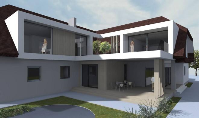 Erweiterung Wohnbereich und Küche, im Erdgeschoß der Verkaufsraum.